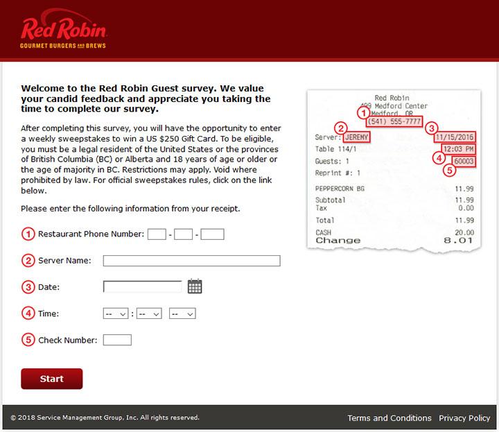 www.redrobinlistens.com - Red Robin Survey